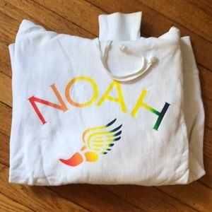NOAH Wingfoot Logo Hoodie, White and Rainbow